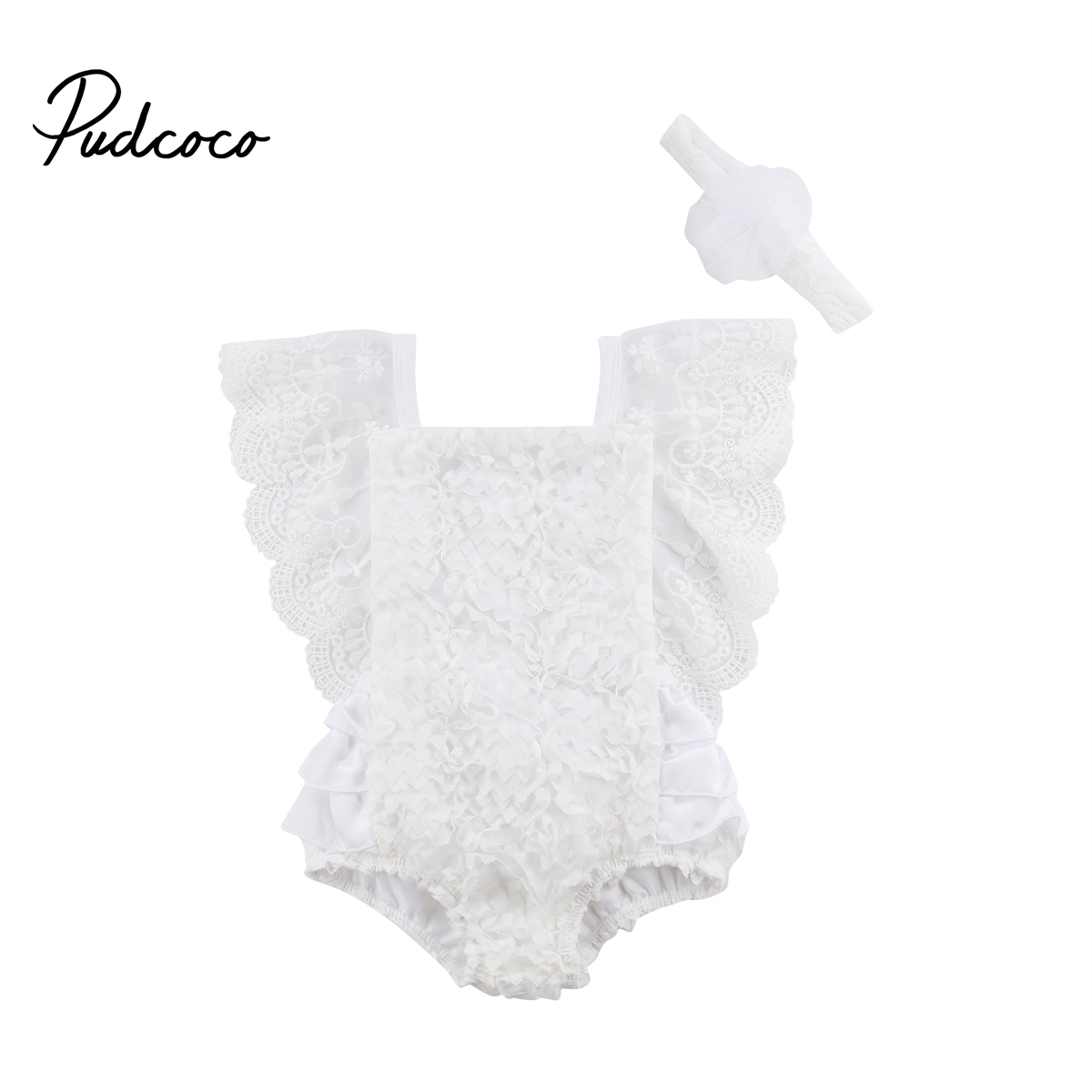 Newborn   Romper   Casual Baby Girl Ruffle Lace   Romper   Jumpsuit Clothes Outfit