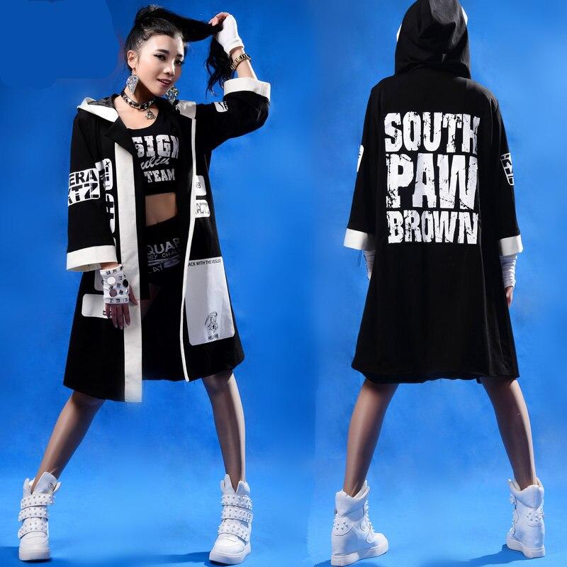 2015 New fashion autumn loose reggae dj costume top sweatshirts with a hood letter hoodies street dance hip hop outwear