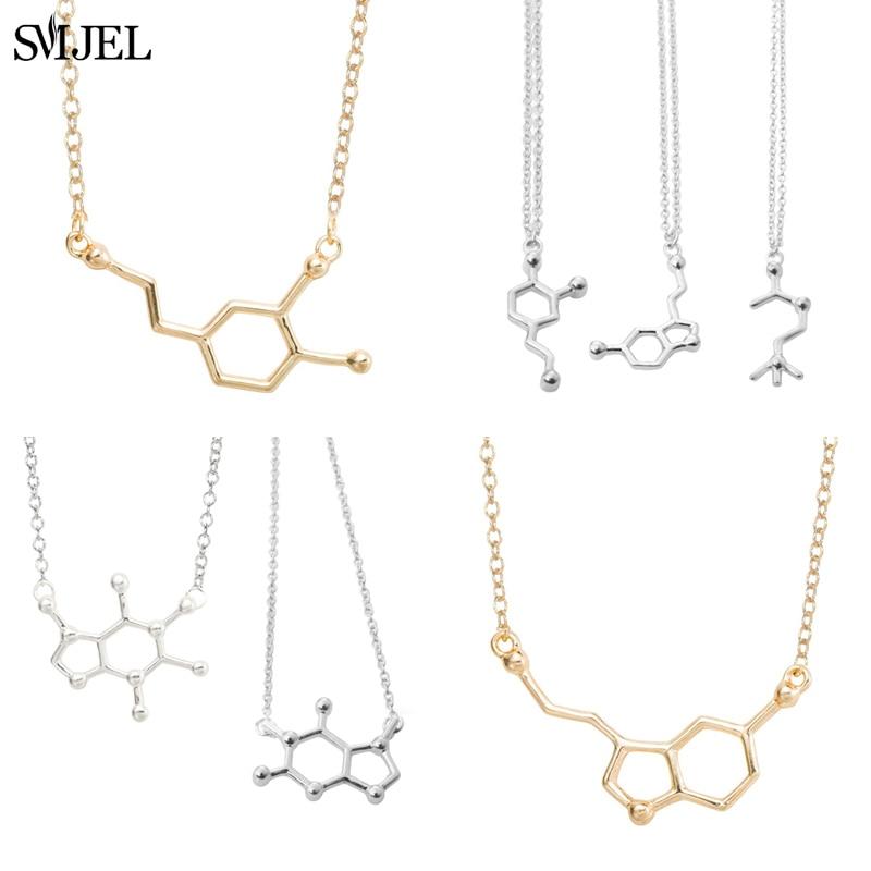 SMJEL Dopamine molécule colliers formule chimique collier mode femmes sérotonine Structure formule pendentif Graduation cadeaux