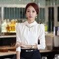 Alta qualidade de Moda de nova chiffon camisa camisa de vestido de primavera mulheres Coreanas moda longa-camisa de manga comprida OL carreira outono das YF 09