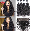 7A Brazilian Water Wave with Frontal Closure Brazilian Wet Wavy Virgin Hair 3 Bundles with 13x4 Frontal VIP GEM Curly Human Hair