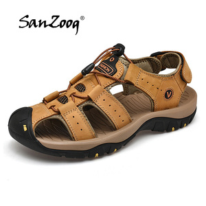 Image 2 - 2019 New Mens Sandals Summer Outdoor Non Slip Sandal Genuine Leather For Trekking Breathable Fashion Casual Shoes Size 47 48
