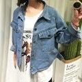 2016 Primavera Otoño de las mujeres de moda denim Jean jacket women chaquetas Patch Designs vintage femenina capa ocasional de gran tamaño