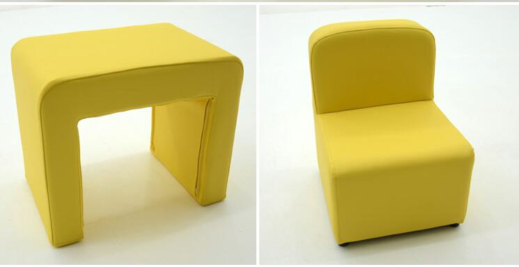 Children's sofa seat. Solid wood tables and chairs combination. Leather leather single stool