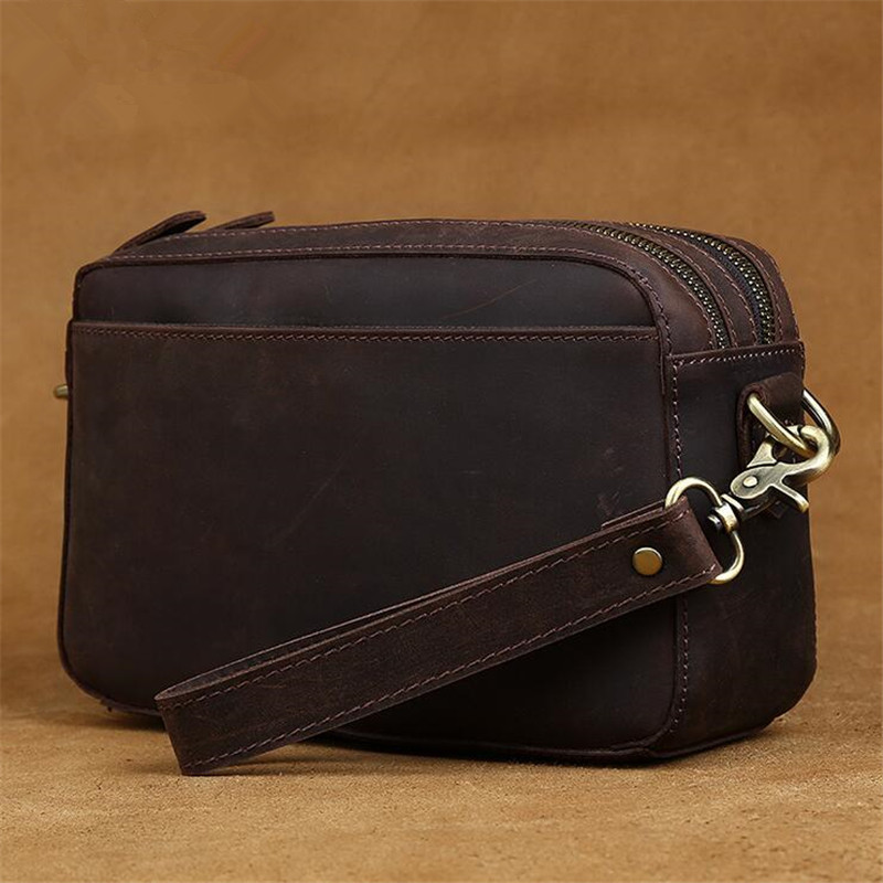 2016 new retro men crazy horse leather handbag shoulder messenger bag and multi-purpose Clutch hot free shipping hot new multi purpose infrared babies