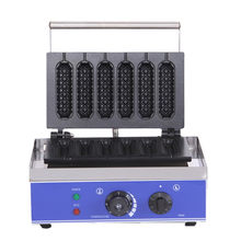 Commercial Electric 6 Pieces Crispy Corn Hot Dog Waffle Maker Non-stick French Muffin Sausage Machine(China)