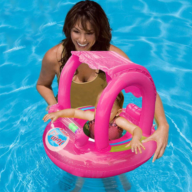 Summer Baby Flamingo Pool Float Safety Swimming Rings Inflatable Swim Float With Sunshade Seat Raft Water Fun Pool Toys 1