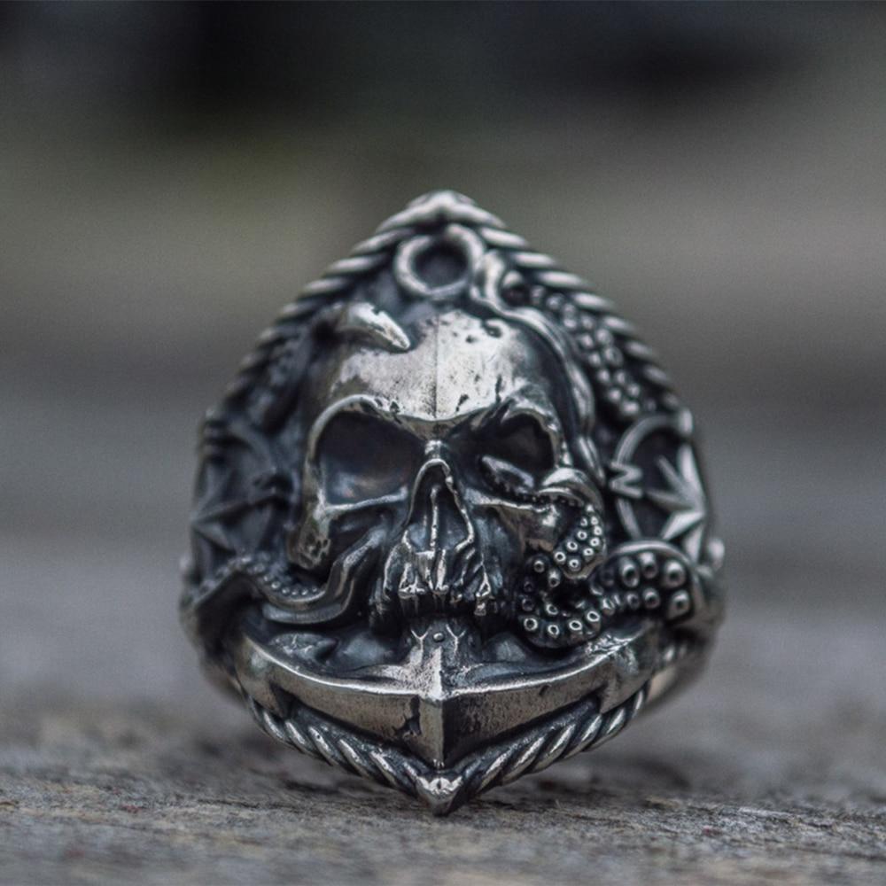 Stainless Steel 2 Color Spider Grinning Ghost Skull Biker Ring