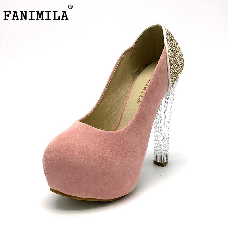 Fanimilaレディース結婚式の靴2016クリスタルハイヒールレディースプラットフォームパンプスファッションブランド靴かかと