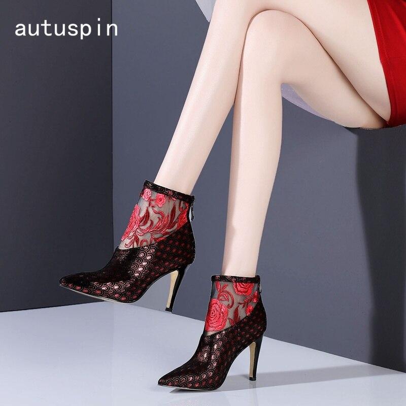 Mujeres Azul Cuero Zapatos Tacón Alto Ocio De Cómodas Mujer rojo Fiesta Pie Rojo Dedo Botas Puntiagudo Autuspin Del Moda Las URqtwRA