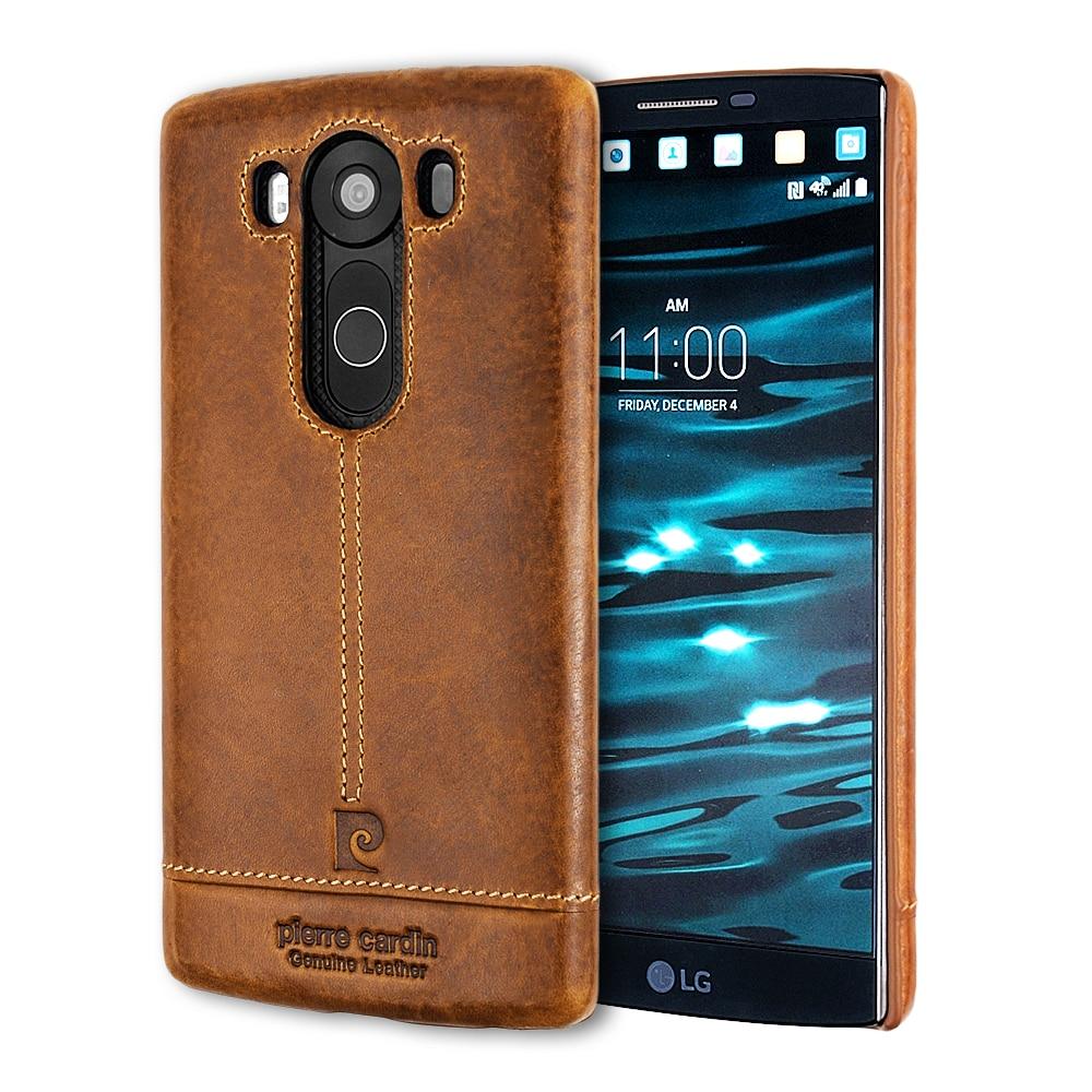bilder für Original Pierre Cardin Luxus Marke Zurück Fall Für LG V10 V20 echtes Leder Ultra Thin Hard Cover Fall Für LG V20 Coque