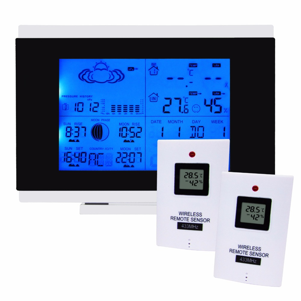Indoor Outdoor Wireless Weather Station Temperature Humidity Remote Sensor Date Radio Controlled Clock RCC DST F/C w/ 2 sensors digital wireless weather station indoor outdoor thermometer temperature humidity w rcc radio controlled clock 2 remote sensor