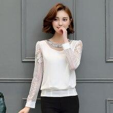 S-3XL Autumn women 2017 chiffon hollow long sleeve blouse Shirt Lace white black pink Plus size Cotton Patchwork 82H