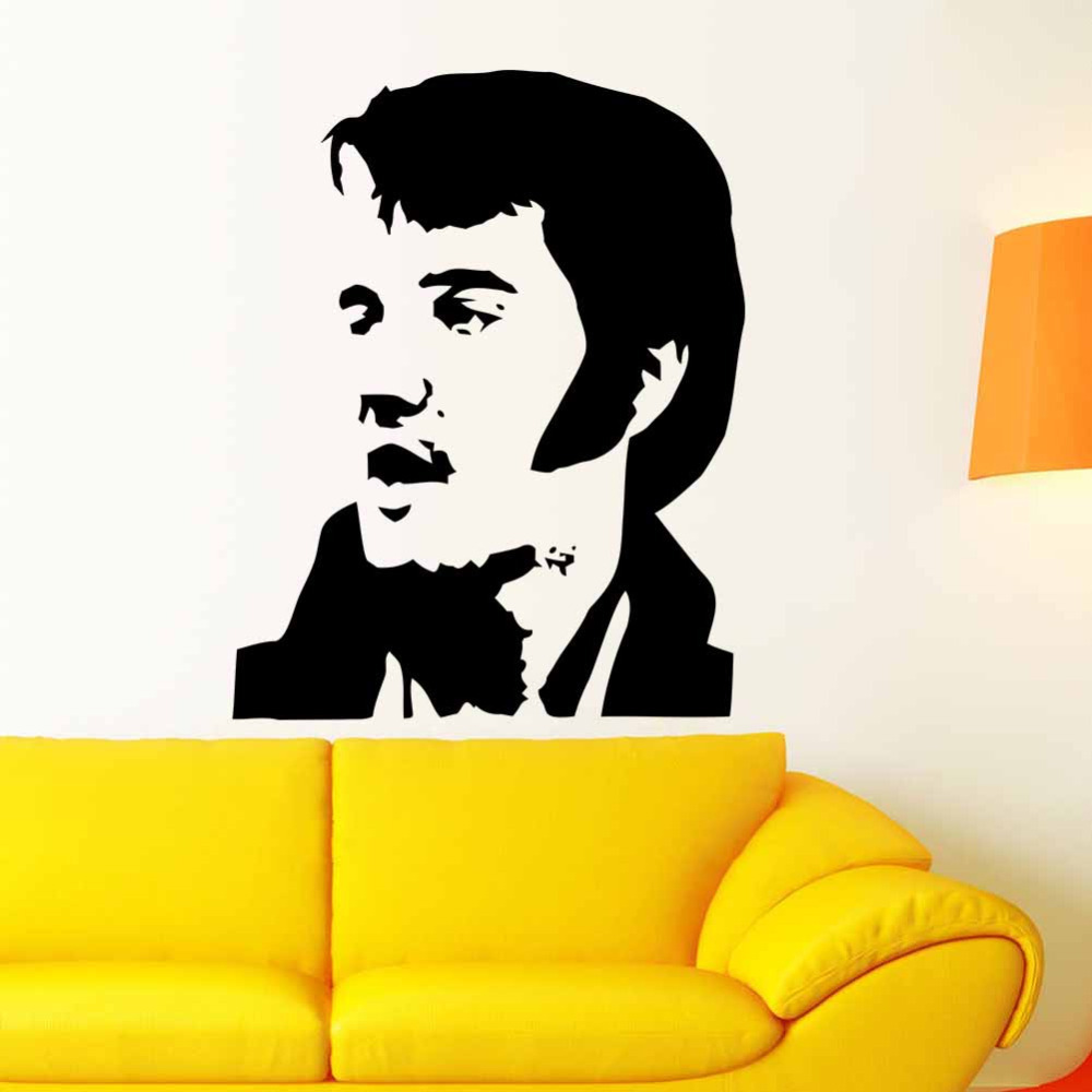 New 2015 Wholesale Elvis Presley Wall Mural Art Sticker Stencil Decal Home Decoration Free Shipping 73*57cm-in Wall Stickers from Home & Garden on ...