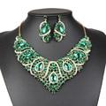Женщины мода горячие продажа 6 цветов заявление ожерелье кристалл ювелирные наборы с серьги boho Модный ожерелье для свадьбы