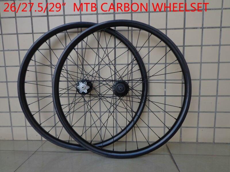 New 26/27.5/29er inch light clincher rim mountain bike 3K UD 12K full carbon fibre bicycle disc brake wheelset MTB Free shipping