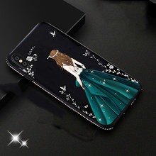Vestido de mujer diamante brillo TPU funda para iphone XS MAX cubierta Shning iphone 8 Plus funda de silicona para iphone XR SE 5S 6 6s 7 8 X(China)