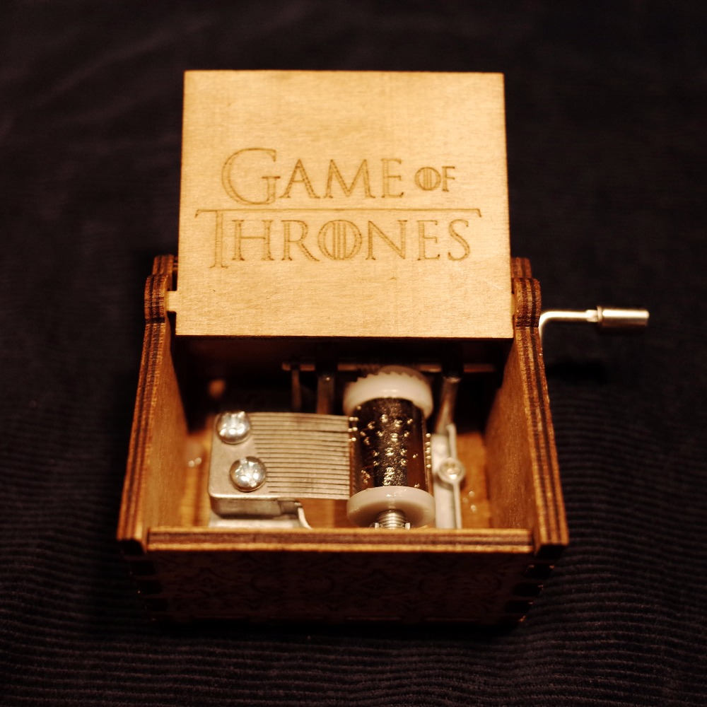 Xmas Gifts Game of Thrones Star Wars Harri Potter Merry Christmas Theme Handmade Engraved Wooden Music Box Crafts Cosplay