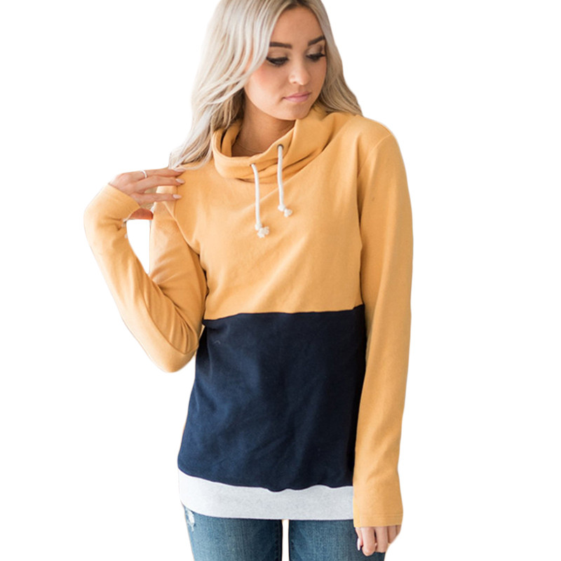 Fashion Multi-color O-neck Sweatshirt Leisure Turtleneck Collar Long Sleeve Sweatshirts Women Ladies Autumn Pullovers Patchwork