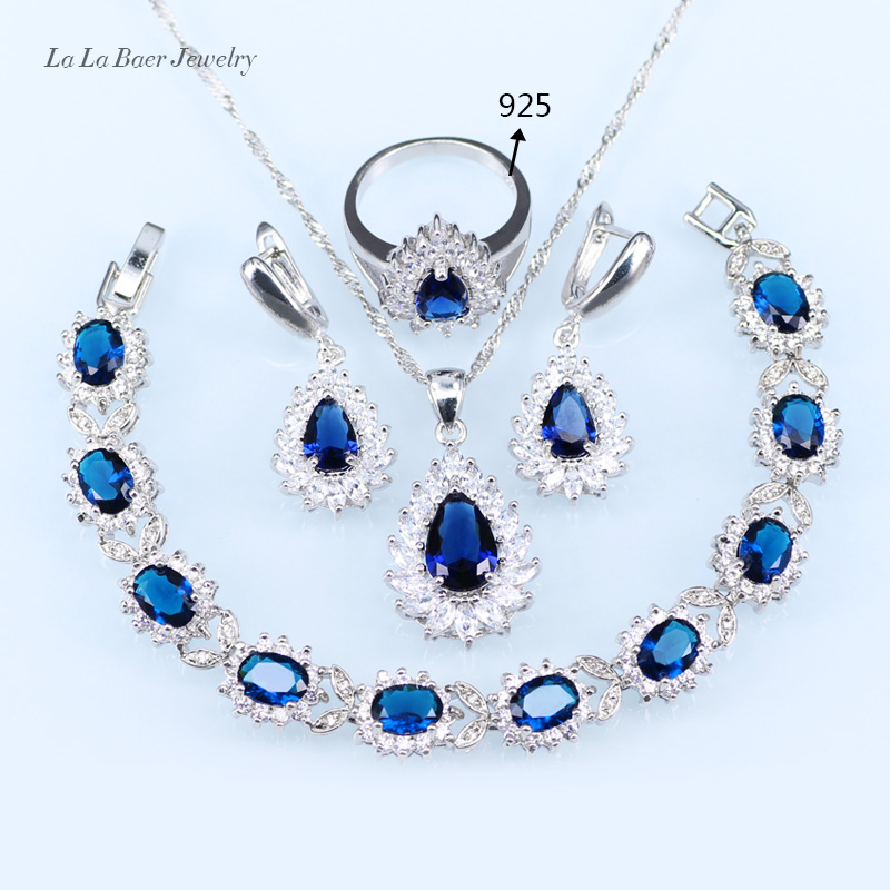 L&B Wedding silver Color 925 Logo Jewelry Sets Blue Crystal White Zircon For Women Bracelets/Earrings/Pendant/Neklace/Ring
