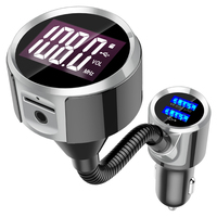 AMKLE Bluetooth Car Kit Handsfree Set FM Transmitter BT MP3 Music Player 5V 2.4A USB Car Charger Support Micro SD Card 1G 32G