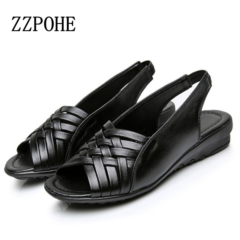 ZZPOHE Summer moms Fashion sandals Ladies soft bottom casual comfortable flat Sandals middle-aged leather black non-slip sandals мягкая игрушка пингвин tux купить