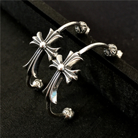 100 Pure Silver 925 Punk Style Cross Earring Women Half Circle Stud Earring Solid Sterling Silver