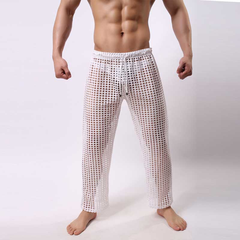 Men's Sleep Lounge Sleep Bottoms Sexy Mesh Transparency Leisure wear Hollow Out Pyjama Trousers Waistband Homewear Gay Club Wear