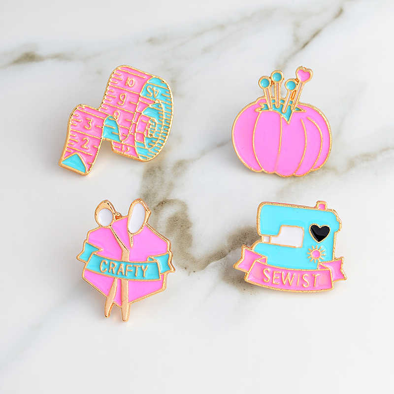 Sewing machine tape measure scissors sewing kit cartoon pink pins and brooches Denim jacket tote bag backpack badges lapel pin