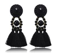 Exaggerated Fashion Long Black Tassel Best Gifts For Lady Friend Bohemia Retro Ethnic Drop Earrings Party