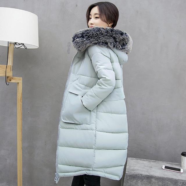 2016 mulheres jaqueta de inverno grande gola de pele amassado feminino casaco fino de algodão-acolchoado casaco jaqueta com capuz inverno Parka mulheres