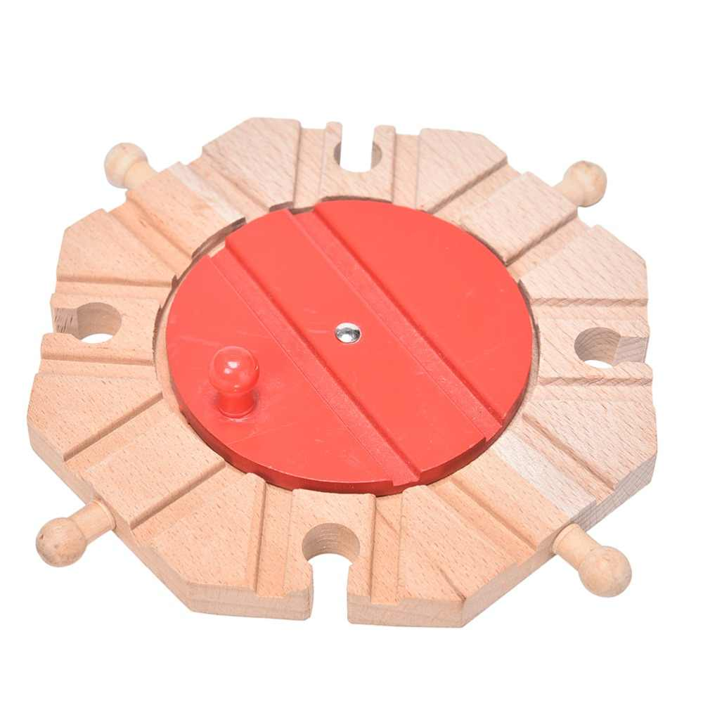 1pcs Miniature Wooden Train Switch Track Set Circular Turntable Educational Toys Boy/Kids Toy Multi Styles