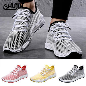 SHUJIN Sneakers Shoes Vulcanize Lace-Up Male Running Slip-Flat-Soled Walking Casual Mesh