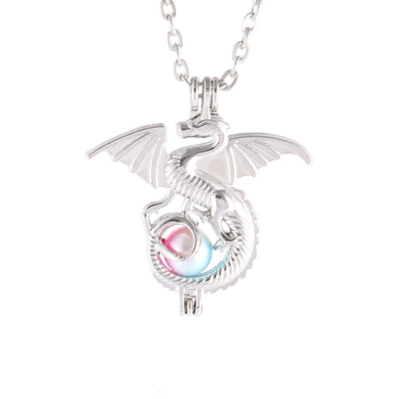 2019 Pearl Cage Aromatherapy Essential Oil Diffuser Necklace Silver Plated Dark Anime Game Punk Dragon Necklace Christmas Gift