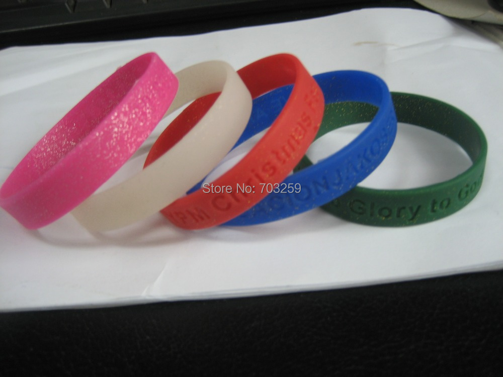 500pcs Lot Custom Rubber Silicone Sparkles Bracelets Personalized Glitter Wrist Bands With Embossed Text Or