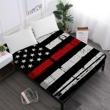 Festival Gift Bed Sheet American Flag Print Fitted Sheet Star Striped Patchwork Bedclothes Flag Day Home Decor Mattress Cover 40 kids striped and star flag print vest dress
