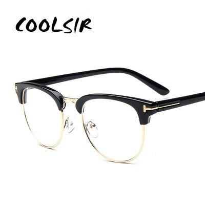 COOLSIR Brand Top Grade Eyeglasses Frame Men Optical Frames Women Retro Clear Lens Half rim Glasses Female Spectacle