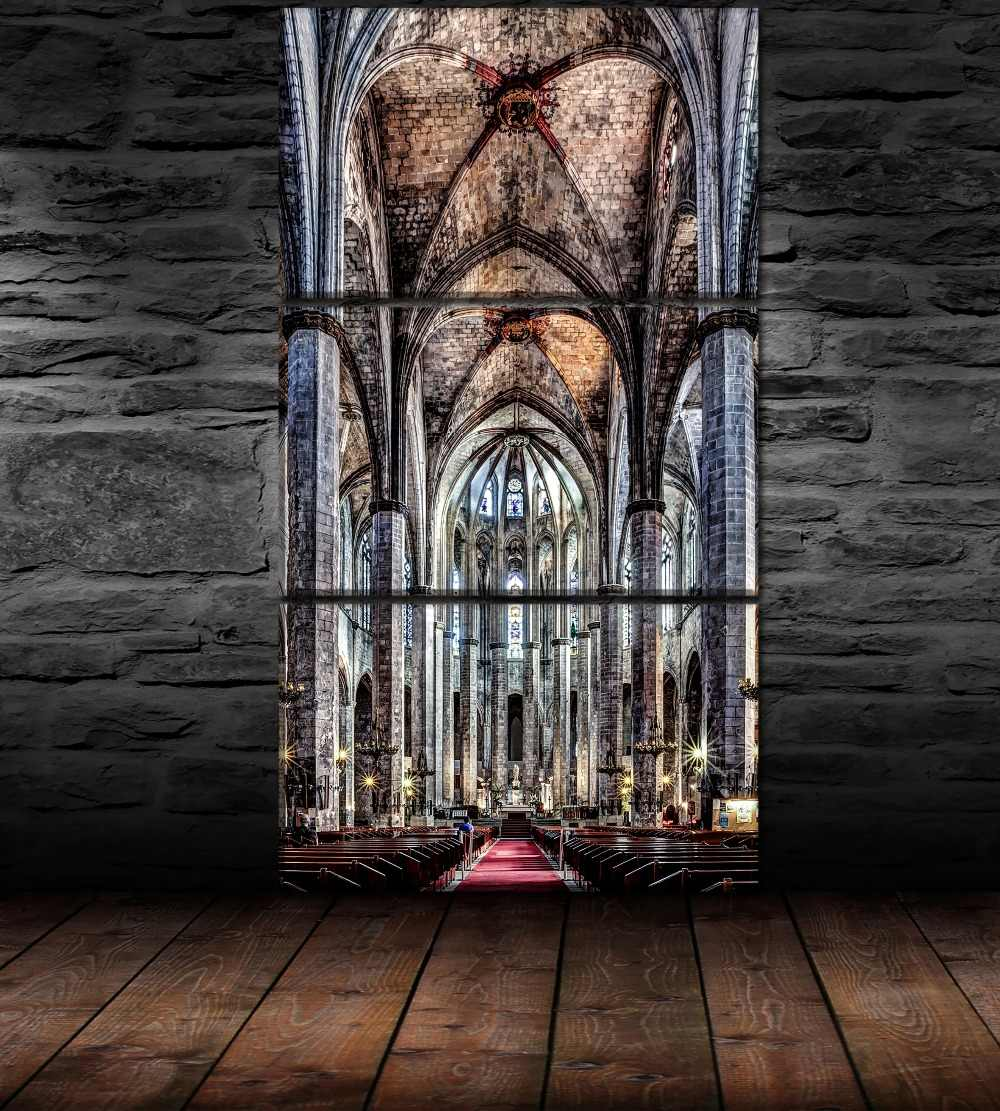 3 Pieces/Set Religious Painting Cathedral Poster Wall Art Modular Pictures Canvas Print Home Decorative Bedroom Modern Artwork
