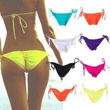 Женская одежда для плавания, трусики бикини, нижняя часть, боковые завязки, бразильские стринги, купальник, Классические плавки, бикини, Шорты для плавания, женский купальник, 8 видов цветов