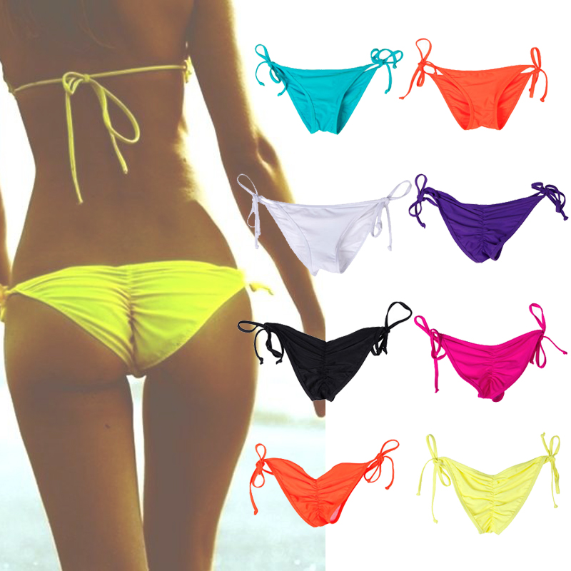 Swimwear Women Briefs Bikini Bottom Side Ties Brazilian Thong Swimsuit Classic Bottoms Biquini Swim Short Ladies Swimsuit 8Color