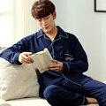 Pijamas 2016 hombres Otoño Invierno de Manga Larga Home Use 100% Pijamas de Los Hombres de algodón A Cuadros Salón Conjuntos de Pijamas Más tamaño 3XL ropa de dormir