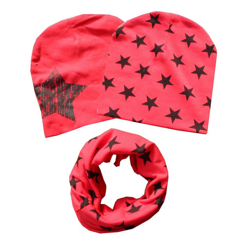 Autumn Winter Kids Printed Cotton Children Scarf-collar Boys Girls Warm Beanies Star print Cotton Baby 1 set Hat Scarf Hat