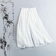 Льняные женские брюки, льняная одежда для женщин, эластичная резинка на талии, Удобные однотонные широкие белые льняные брюки V1369