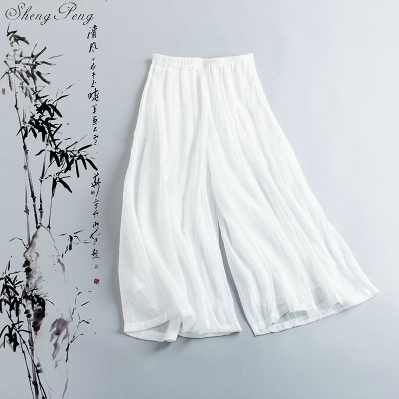 Linen Pants Women Linen Clothes For Women Elastic Waist Comfortably Solid Wide Leg White Linen Pants V1369