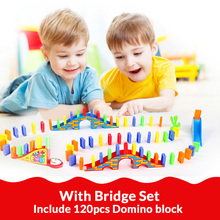 Automatic Domino Brick Laying Toy Train Car with sound light Elevator Springboard Bridge Catapult dominoes Set gift for Children