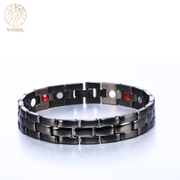 Charm Jewelry Men's Health Bracelet & Bangle Magnetic H Power Stainless Steel for Man Energy Therapy Far Infra Red Bangle VB315