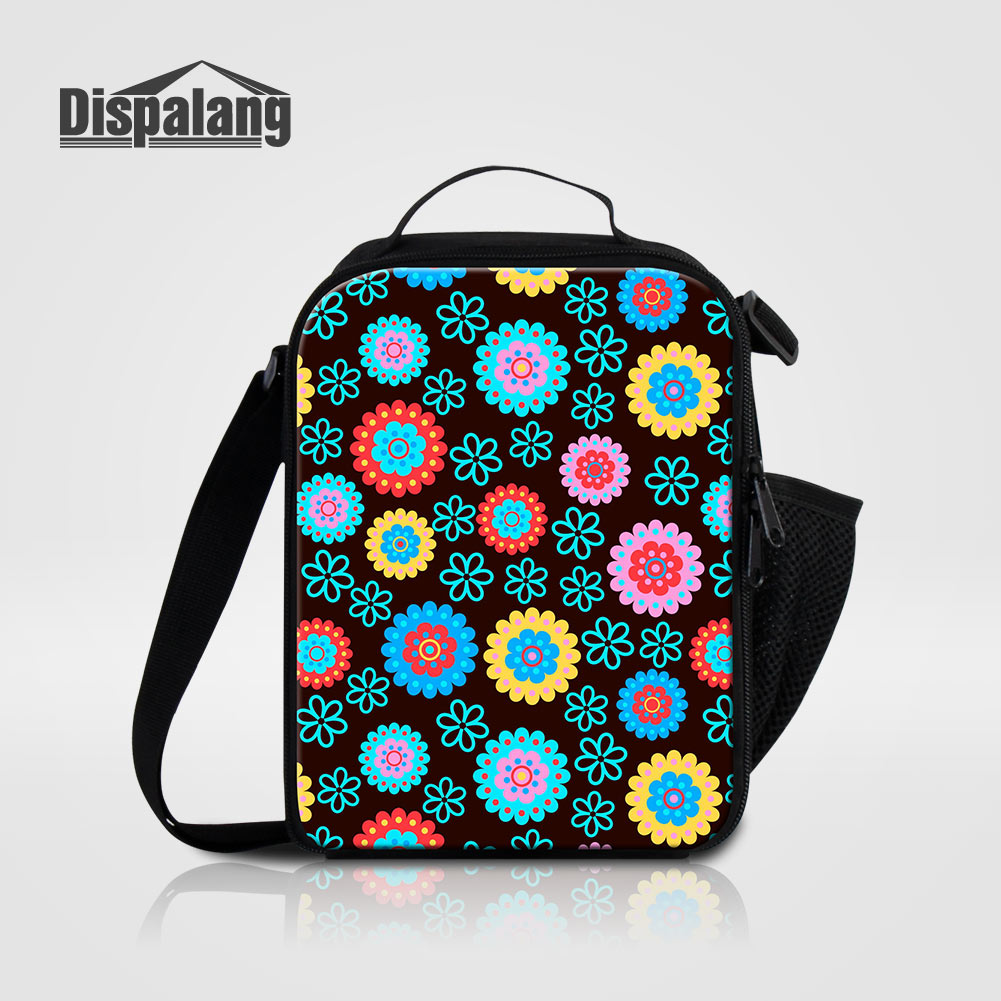 Dispalang Artificial Flowers Print Adults Lunch Bag Patterns Small Thermal Cooler Bags For Women Office Kid Lunch Box For School
