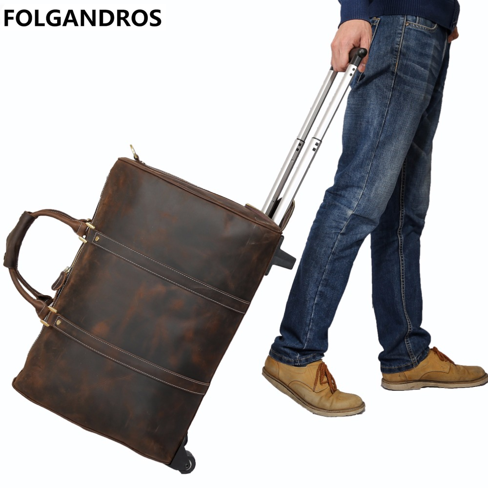 Genuine Leather Travel Luggage Bags Cowhide Suitcase with Wheels Travel Shoulder Duffle Bag Large Capacity Rolling Trolley Case universal uheels trolley travel suitcase double shoulder backpack bag with rolling multilayer school bag commercial luggage