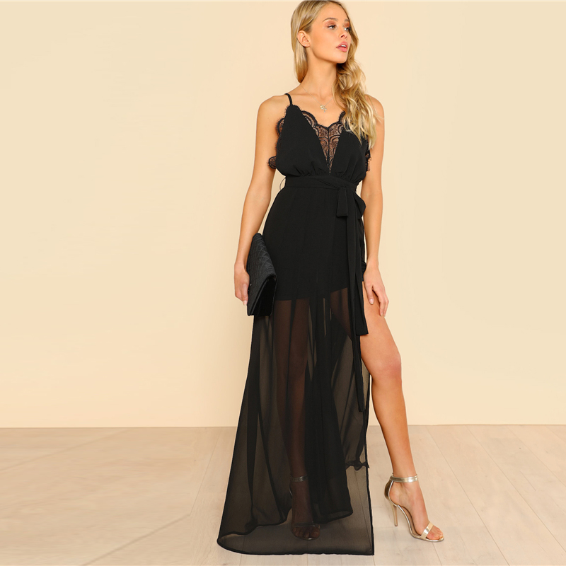COLROVIE Black Backless Lace Plunge V Neck Slit Summer Dress 2018 New Strap Sexy Maxi Dress Elegant Evening Party Dress 9