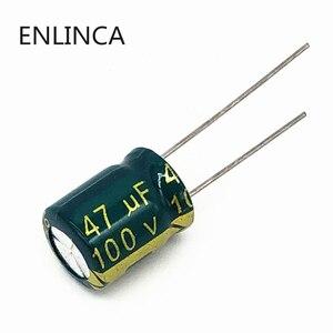 100 шт./лот BC11 высокочастотный электролитический конденсатор с низким сопротивлением 100 в 47 мкФ, Размер 8*12 47 мкФ 20%